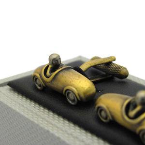 送料無料 メンズアクセサリ― ビンテージレースカーカフスボタンアンティークゴールド8nPX0wOk