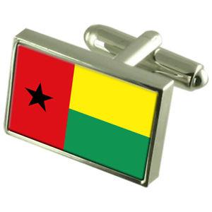 【送料無料】メンズアクセサリ― ギニアビサウボックススターリングシルバーカフリンクスguineabissau sterling silver flag cufflinks in engraved personalised box