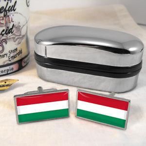 【送料無料】メンズアクセサリ― ハンガリーカフスボタンボックスhungary flag cufflinks amp; box