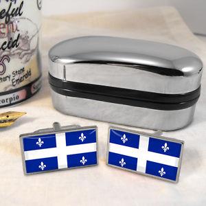 【送料無料】メンズアクセサリ― ケベックカフスボタンボックスquebec flag cufflinks amp; box