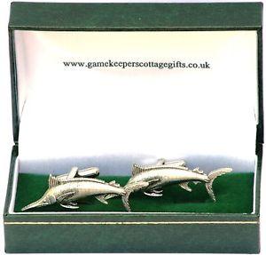 【送料無料】メンズアクセサリ― マーリンビッグゲームフィッシングカフリンクスピューターボックスmarlin big game fishing cufflinks pewter gift box
