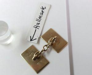 メンズアクセサリ— ゴールドソリッドカフスボタングラム9ct gold solid rectangular cufflinks 52 grams hallmarked excellent condition