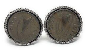 【送料無料】メンズアクセサリ― アイリッシュハープコインカフスボタンirish harp coin cufflinks manufactures direct pricing