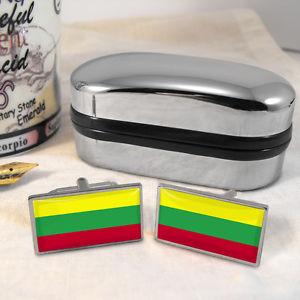 【送料無料】メンズアクセサリ― リトアニアカフスボタンボックスlithuanian flag cufflinks amp; box