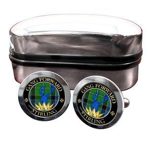 【送料無料】メンズアクセサリ― スターリングスコットランドバッジカフスボタンボックスstirling scottish clan crest badge cufflinks amp; box