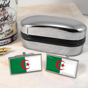 【送料無料】メンズアクセサリ― アルジェリアカフスボタンボックスalgeria flag cufflinks amp; box