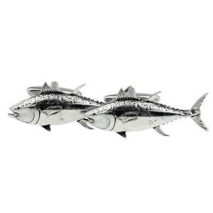 【送料無料】メンズアクセサリ― ボックス×マグロピューターカフリンクスenglish made tuna fish pewter cufflinks in a leatherette box x2tsbcf43