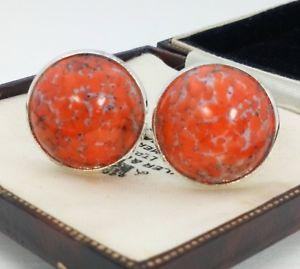 【送料無料】メンズアクセサリ― ビンテージコーラルオレンジガラスメッキカフリンクスvintage 1950s coral orange glass large 20mm round silver plated cufflinks