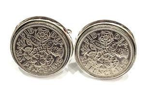 【送料無料】メンズアクセサリ― 60コインカフリンクス60th birthday 1958 luxury silver sixpence coin cufflinks boxed great gift