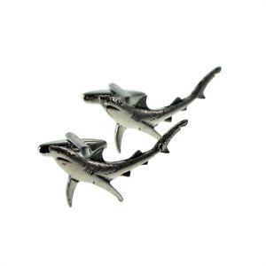 【送料無料】メンズアクセサリ― ボックス×ピューターカフリンクスenglish made blue shark pewter cufflinks in leatherette box x2tsbcf07