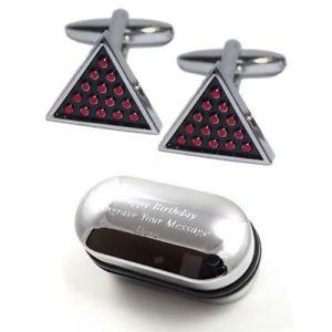 【送料無料】メンズアクセサリ― スヌーカーカフスボタンボックスsnooker triangle cufflinks amp; engraved gift box