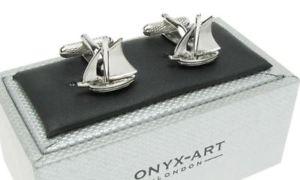 【送料無料】メンズアクセサリ― シルバーセーリングオニキスアートボックスヨットカフリンクスsilver colour sea sailing ship yacht cufflinks in onyx art cufflink box
