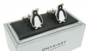 【送料無料】メンズアクセサリ― オニキスアートボックスペンギンシャツカフリンクスcute penguin shirt cufflinks in onyx art cufflink box