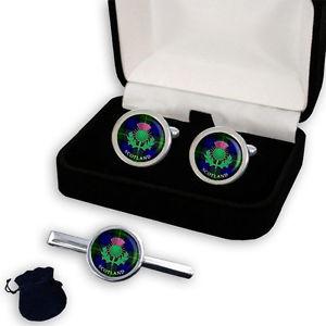 【送料無料】メンズアクセサリ― ゴードンタータンチェックスコットランドシスルメンズカフスボタンセットgordon clan tartan scottish thistle men's cufflinks set gift engraving
