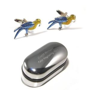 【送料無料】メンズアクセサリ― カラフルオウムカフスボタンボックスcolourful bird parrot cufflinks amp; engraved gift box