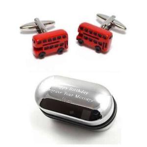 【送料無料】メンズアクセサリ― イングランドロンドンバスカフスボタンボックスuk england london red bus cufflinks amp; engraved gift box