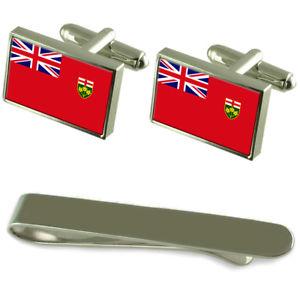 【送料無料】メンズアクセサリ― オンタリオシルバーカフスボタンタイクリップボックスセットontario flag silver cufflinks tie clip box gift set