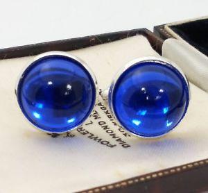 【送料無料】メンズアクセサリ― ビンテージチェコガラスメッキカフリンクスvintage czech bright blue glass large 18mm round silver plated cufflinks