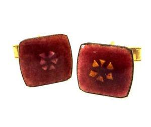 【送料無料】メンズアクセサリ― ピンクエナメルスクエアスイングカフスボタンc1970s pink enamel on copper mauve square hinged cufflinks abstract