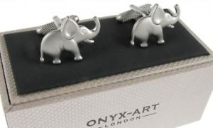 【送料無料】メンズアクセサリ― オニキスアートボックスシャツカフリンクスelephant shirt cufflinks in onyx art cufflink box