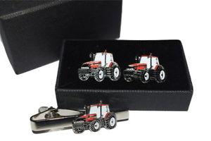 【送料無料】メンズアクセサリ― ケーストターカフスボタンタイクリップボックスセットエナメルcase international red tractor cufflinks amp; tie clip set gift boxed enamel
