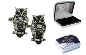 【送料無料】メンズアクセサリ― フクロウピューターカフリンクスケースowl bird pewter cufflinks in case, can be engraved personalised xdhcl1125