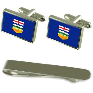 【送料無料】メンズアクセサリ― アルバータシルバーカフスボタンタイクリップボックスセットalberta flag silver cufflinks tie clip box gift set