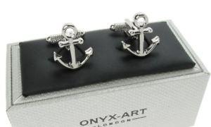 【送料無料】メンズアクセサリ― セーリングオニキスアートボックスアンカーカフリンクスsailing ships anchor cufflinks in onyx art cufflink box