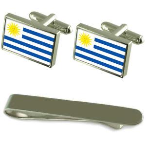 【送料無料】メンズアクセサリ― ウルグアイシルバーカフスボタンタイクリップボックスセットuruguay flag silver cufflinks tie clip box gift set