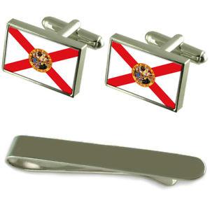 【送料無料】メンズアクセサリ― フロリダシルバーカフスボタンタイクリップボックスセットflorida flag silver cufflinks tie clip box gift set