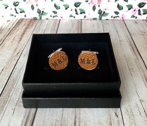 Small Seven Mens Oval Wedding Cufflinks with,18K gold plated Mens cuffs Gift Box