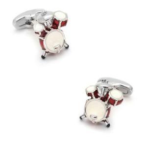 【送料無料】メンズアクセサリ― ドラムキットカフスボタンdrum kit cufflinks red amp; white