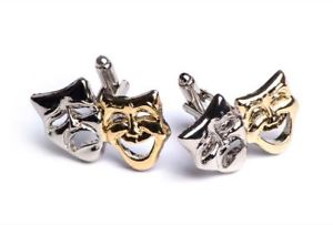 【送料無料】メンズアクセサリ― カフスリンクtheatre masks goldsilverplated cufflinks