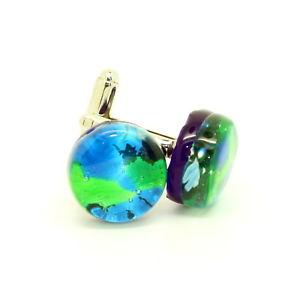 送料無料 メンズアクセサリ― ヴェネツィアムラーノハンドメイドカフリンクスblue and green coloured murano circular handmade cufflinks from venice0P8XnkwO