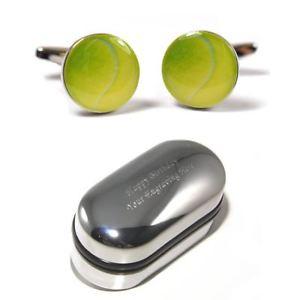 【送料無料】メンズアクセサリ― テニスグリーンテニスボールカフリンクスボックスtennis players, green tennis ball cufflinks amp; engraved gift box