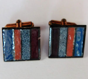 【送料無料】メンズアクセサリ― ヴィンテージカフスリンクエナメルbkvintage copper cufflinks square with multicoloured enamel stripes bk