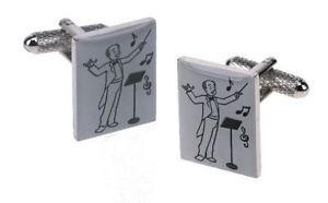【送料無料】メンズアクセサリ― パッドボックスカフスボタンconductor musical director silverplated torpedo cufflinks in padded gift box