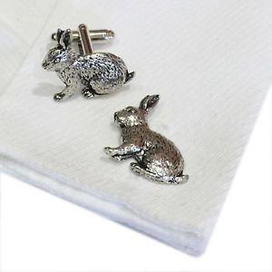 【送料無料】メンズアクセサリ― ピューターウサギウサギカフスボタンクリスマスenglish pewter rabbit hare cufflinks xmas gift ref a17