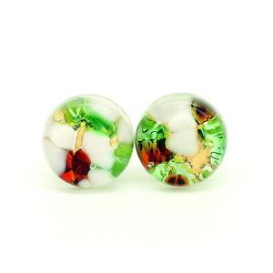 【送料無料】メンズアクセサリ― レッドホワイトグリーンヴェニスムラノカフスリンクred white green coloured murano circular handmade cufflinks from venice