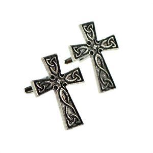 【送料無料】メンズアクセサリ― インターレースセルティックボックスクロスピューターカフリンクスenglish made interlaced celtic cross pewter cufflinks in leatherette box xwcl026