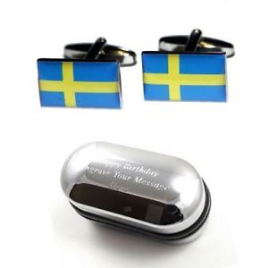 【送料無料】メンズアクセサリ― スウェーデンカフスボタンボックスsweden flag cufflinks amp; engraved gift box