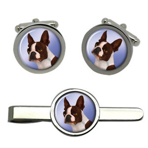 【送料無料】メンズアクセサリ― ボストンテリアタイクリップセットboston terrier dog round cufflink and tie clip set