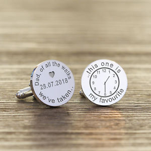 【送料無料】メンズアクセサリ― カフスリンクround personalised silver plated father of the bride wedding date cufflink