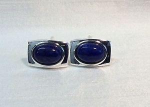 【送料無料】メンズアクセサリ― メンズラピスラズリカフリンクスmens lapis lazuli rectangular cufflinks, silver plated