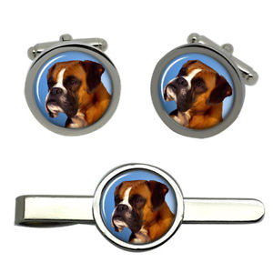 【送料無料】メンズアクセサリ― ボクサータイクリップセットboxer dog round cufflink and tie clip set
