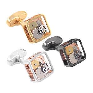 【送料無料】メンズアクセサリ― ユニークムーブメントカフスボタンメンズゴールドシルバーカフスボタンウォッチunique 15mm watch movement cuff links mens steampunk gold silver cufflinks