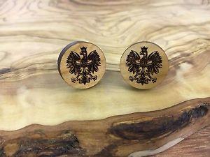 【送料無料】メンズアクセサリ― ポーランドワシカフリンクスhand crafted wooden amp; silver plated ,polish eagle cufflinks