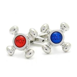 【送料無料】メンズアクセサリ― ホットカフスボタンタップred amp; blue hot amp; cold tap cufflinks