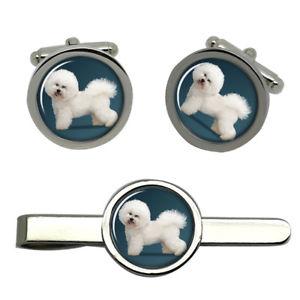 【送料無料】メンズアクセサリ― ラウンドタイクリップセットbichon frise dog round cufflink and tie clip set