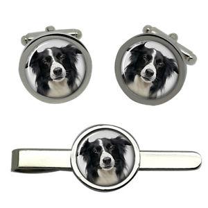【送料無料】メンズアクセサリ― ボーダーコリーカフスリンクネクタイピンセットborder collie dog round cufflink and tie clip set